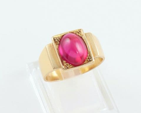 Men's Gents Vintage 18Ct 18K Gold And Synthetic Ruby Signet Ring